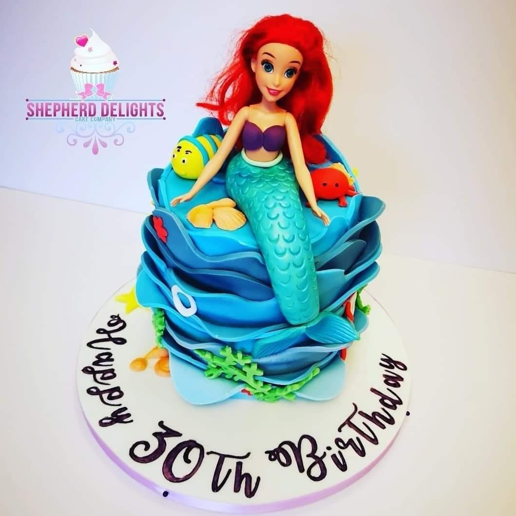 Fabulous Ariel Under The Sea Cake Birthday Cakes Birthday Cards Printable Nowaargucafe Filternl
