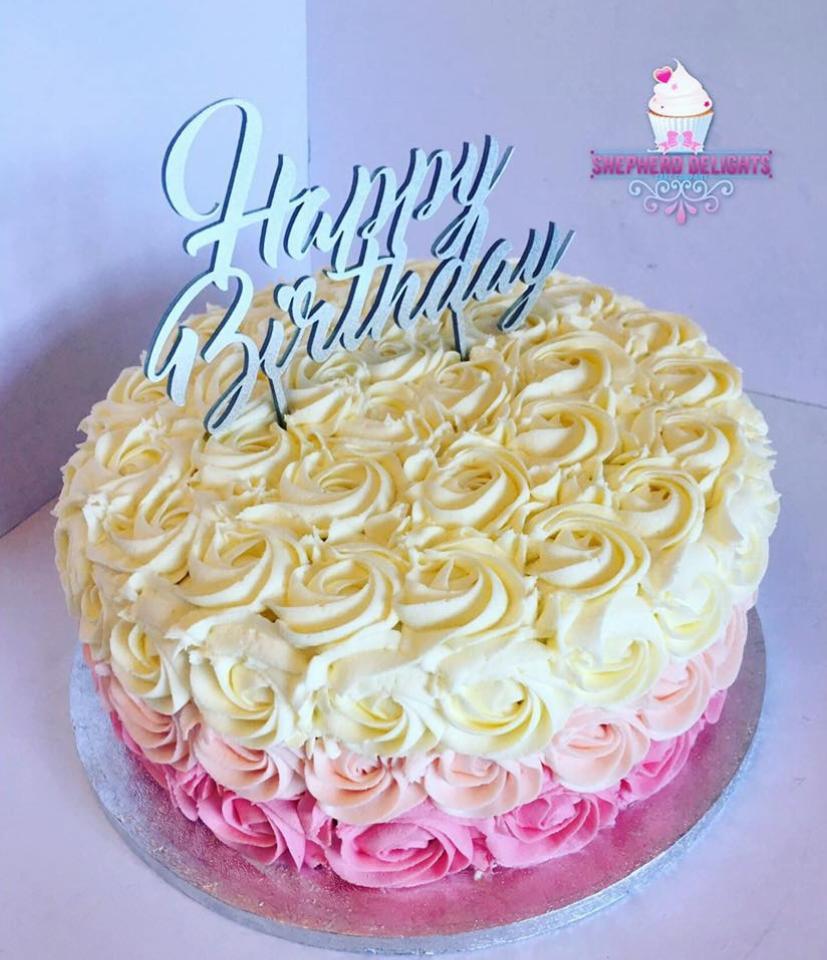 Amazing Rosette Buttercream Birthday Cake Teenage Adult Birthday Cakes Funny Birthday Cards Online Elaedamsfinfo