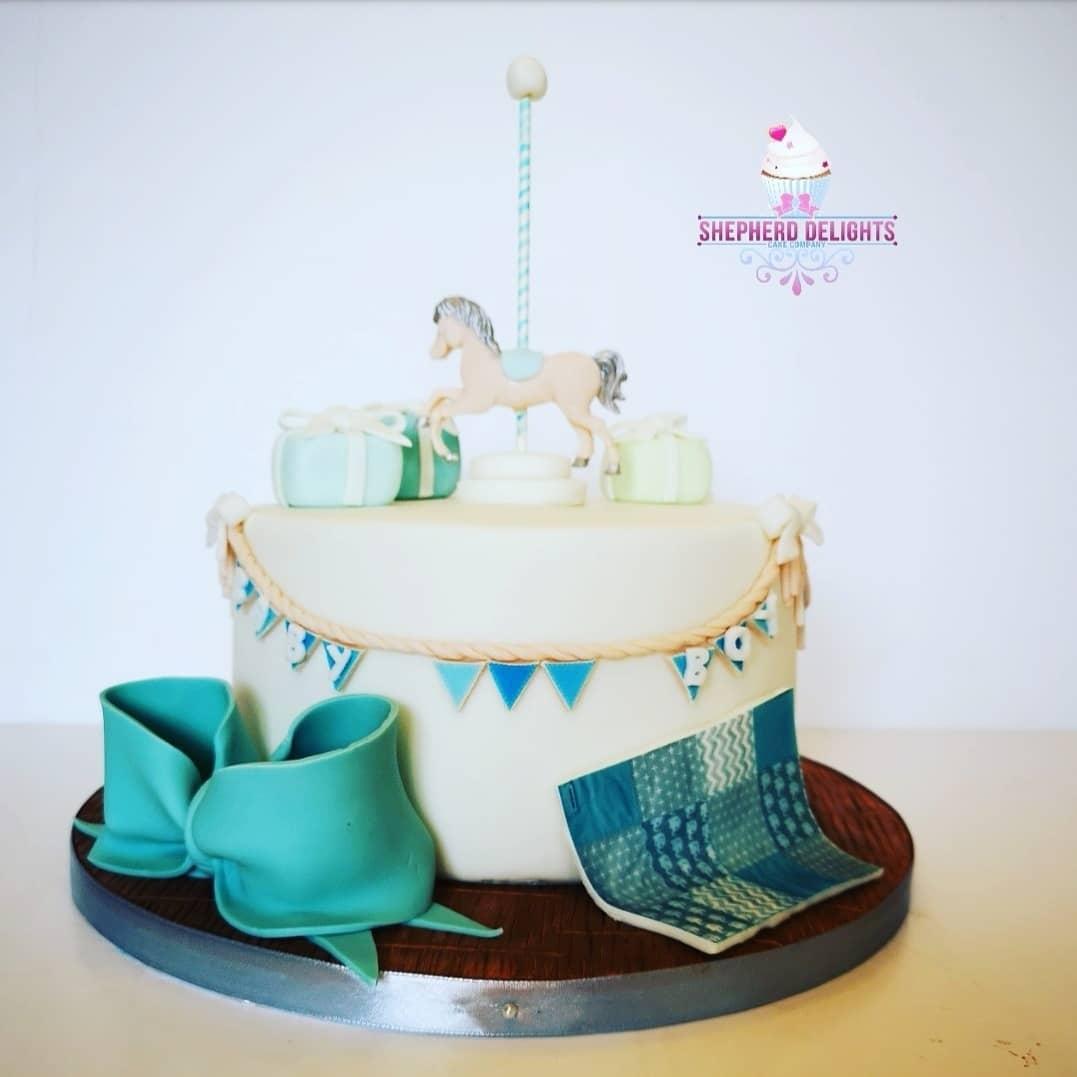 Carousel Horse Baby Shower Cake More Baby Shower Cakes