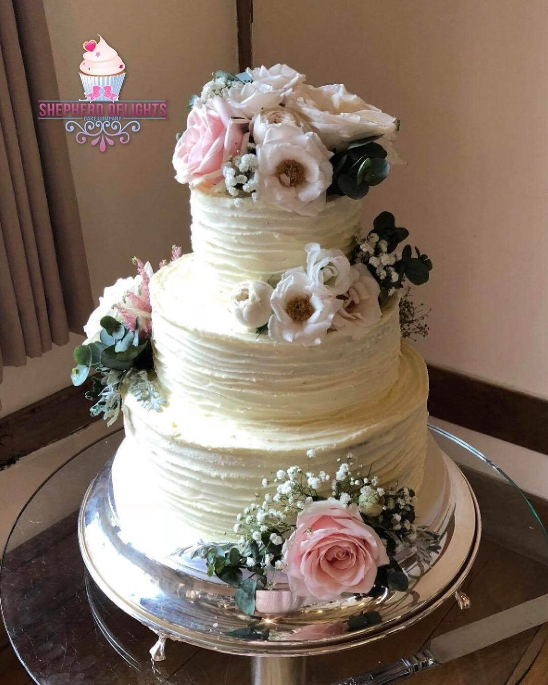Three Tier Fresh Flower Wedding Cake