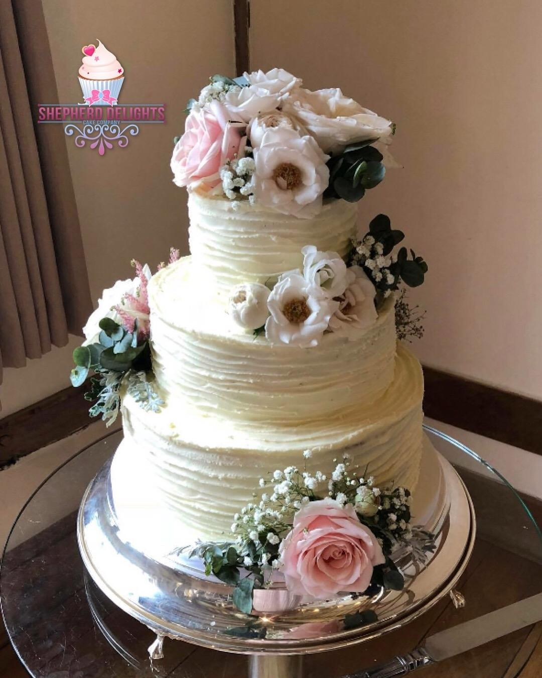 Three Tier Fresh Flower Wedding Cake