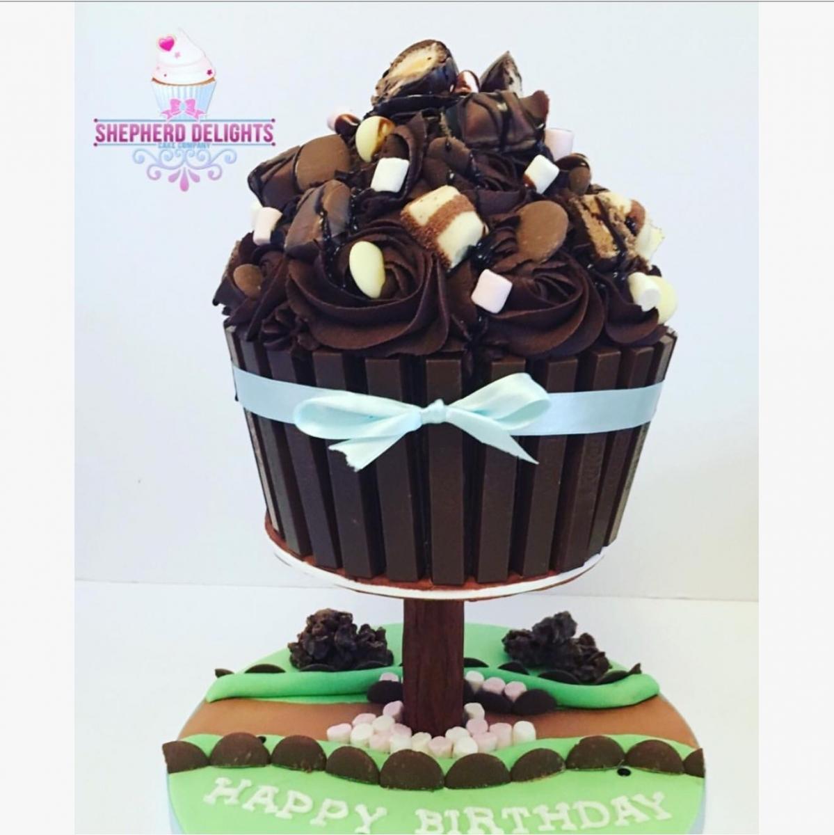 Awesome Giant Chocolate Cupcake Giant Cupcake Tree Teenage Adult Funny Birthday Cards Online Necthendildamsfinfo