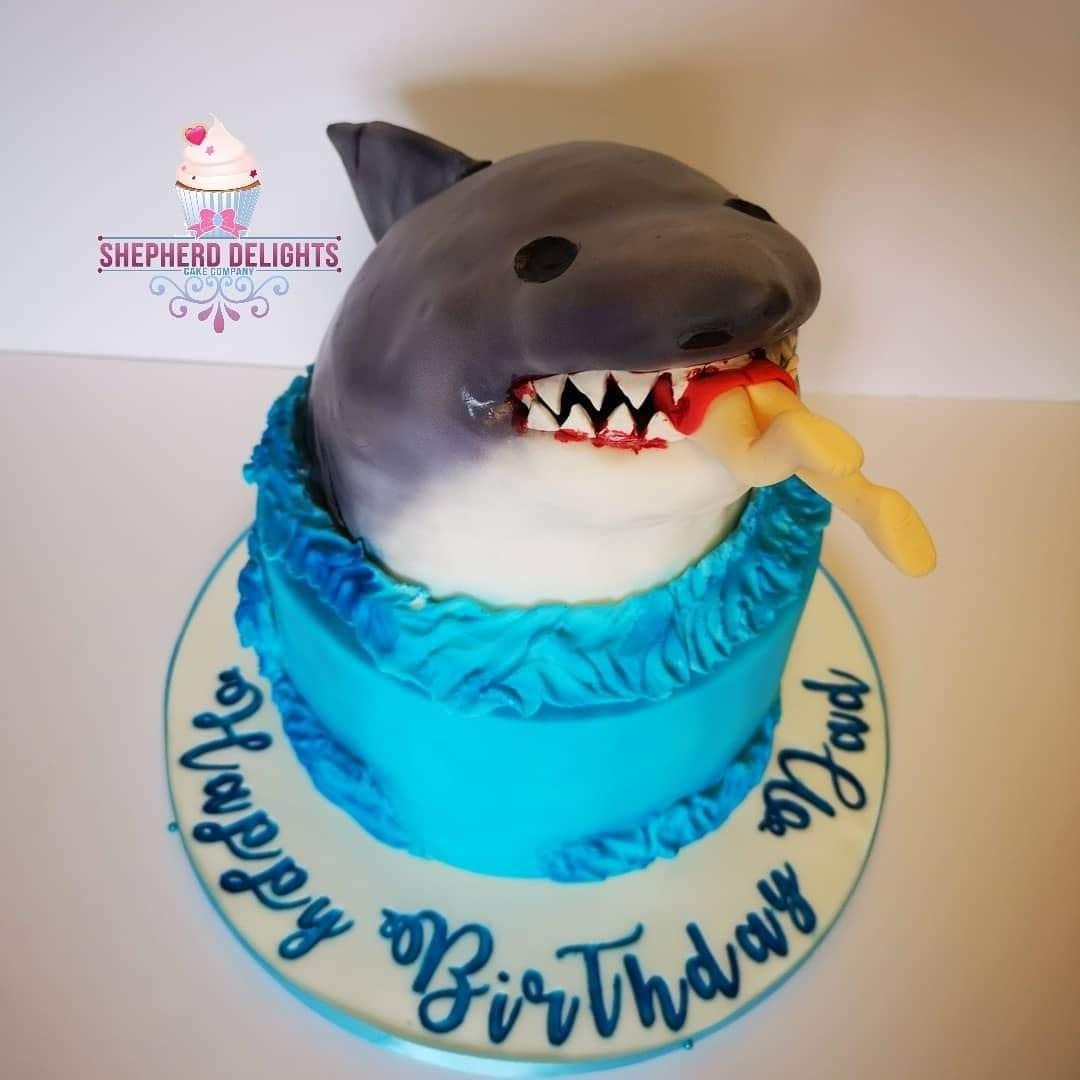 Phenomenal Shark Attack Birthday Cake Birthday Cakes Funny Birthday Cards Online Fluifree Goldxyz