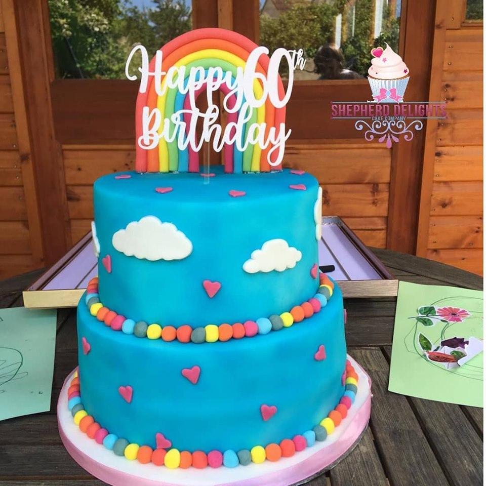 Terrific Two Tier Rainbow Birthday Cake Birthday Cakes Personalised Birthday Cards Paralily Jamesorg