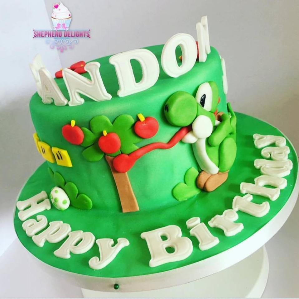 Wondrous Yoshi Birthday Cake Birthday Cakes Cakes For Children Funny Birthday Cards Online Necthendildamsfinfo
